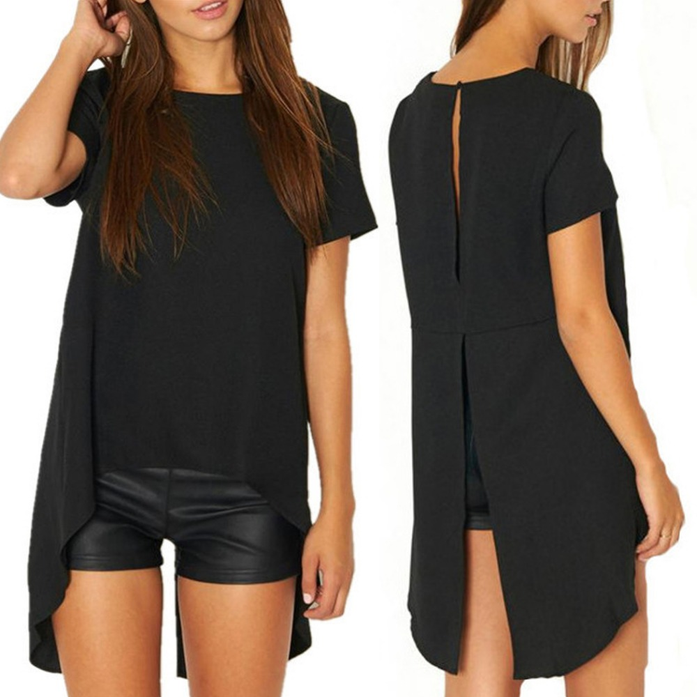 New Women Short Sleeve Asymmetric Sexy Backless T-Shirt Tops Blouse
