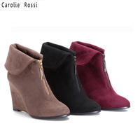 wholesale suede wedge heel ankle boots woman valentine shoes
