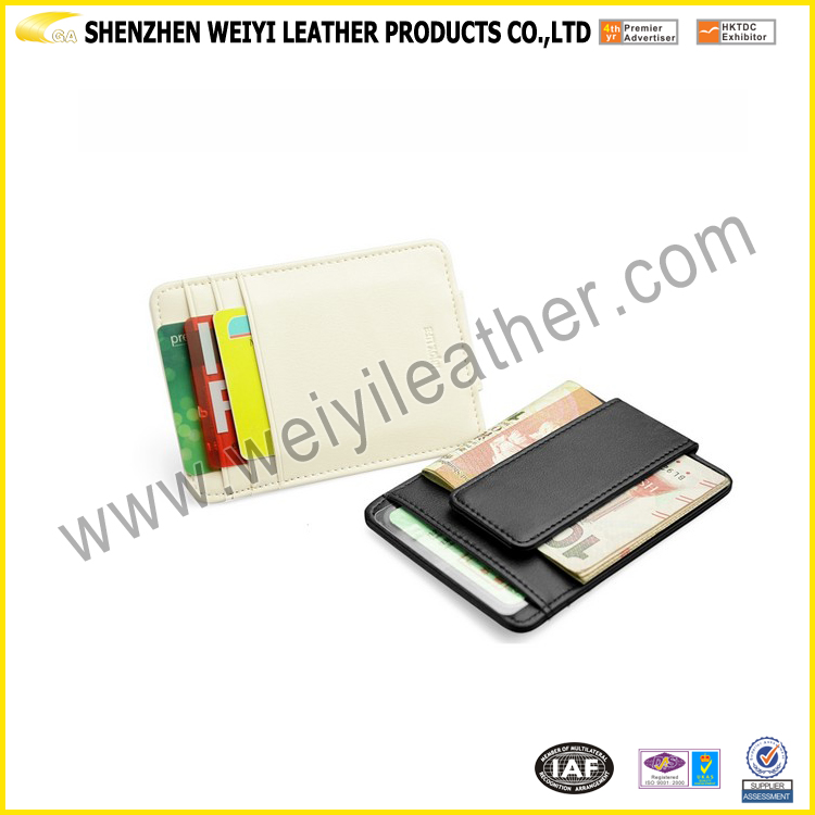 2016 Wholesale Stylish Promotional Gift Durable Leather Brown And Black Leather Magnetic Money Clip For Custom Design