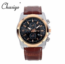 ChaXiGo New Quartz fashion real leather strap luxury brand rose gold good Quality Watch for men watch man wristwatch