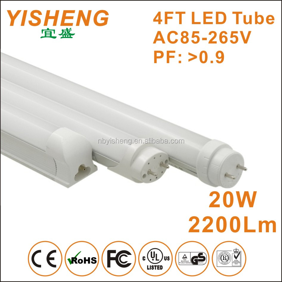 LED Tube 8 AC85-265V/AC Double Power Ended Input T8 LED Tube Lighting G13 Base 4FT 20W SMD2835 LED Chips 3000K-6500K Color Tempe