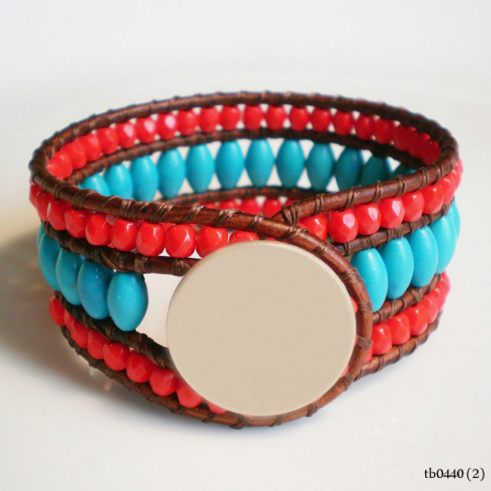 Hottest Turquoise and Red Southwest Layered Wrap Boho Cuff Bracelet With monogram Metal
