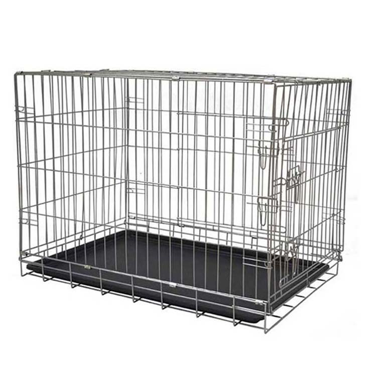 Double iron designer large wire metal dog crate heavy duty crate kennel