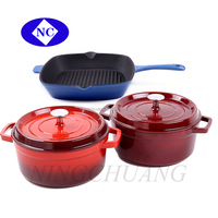 woods colorful porcelain coated cast iron cookware