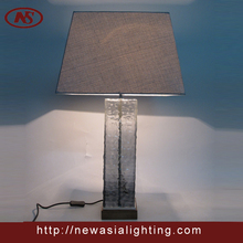 Hotel Table Lamp With Blown Glass Body/Guest Room Table Light With Fabric shade GT5045