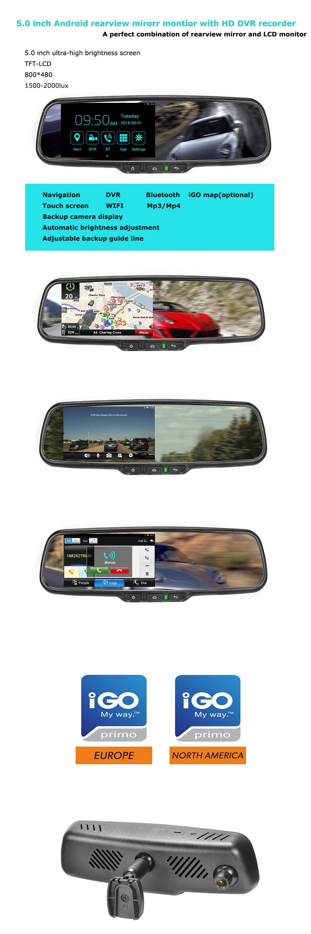 Android system car rear view mirror with DVR, reverse camera display, gps , wifi special for Ford, volvo, toyota