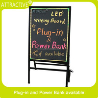 2016 hot sale 50*70 led writing can use power bank glass LED sign board advertising poster board