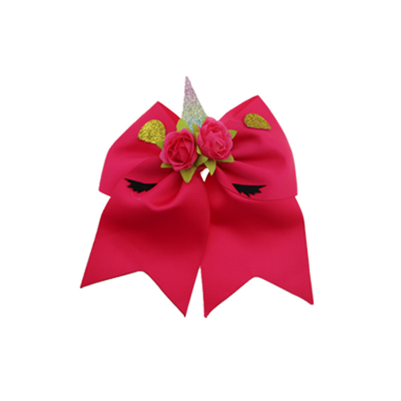 Christmas new design cute 8 inch ribbon hair bow with flower unicorn hair band girls hair accessories