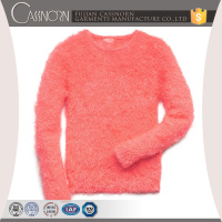 latest design 100% polyester bright pink color pullover fuzzy winter sweaters for girls