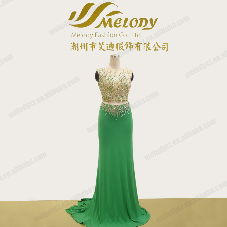 Green beaded two pieces cocktail dresses prom dress