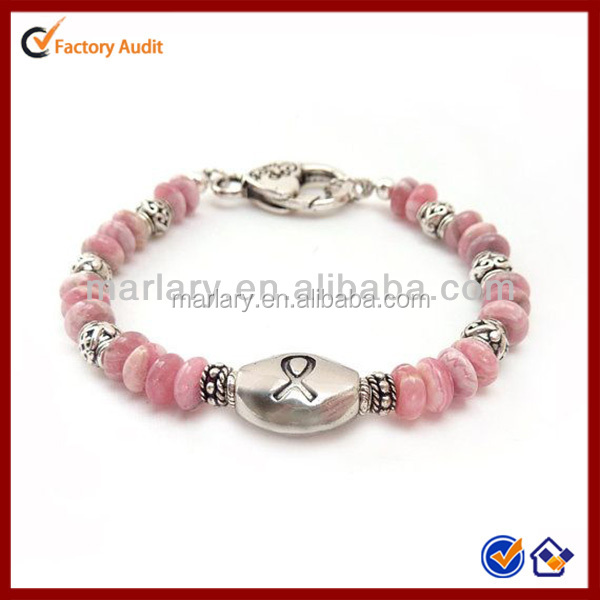 Pink Cancer Awareness Stainless Steel Lobster Clasp Stone Bead Bracelet