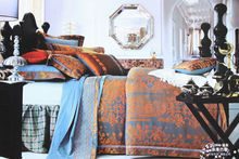 hand stitch bed sheet, imitated silk jacquard bedding set orange luxury Russian bed linen