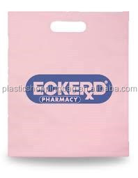 Pink Colour Blue Print Custom Printed Die Cut Plastic Shopping Bag