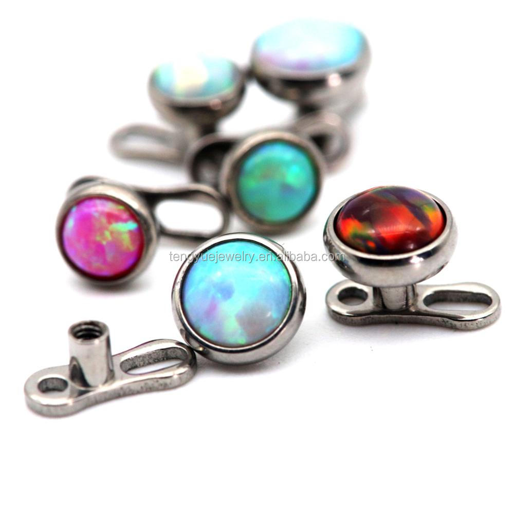 14 Gauge Opal Skin Diver Sexy G23 Titanium Dermal Anchor Surface Piercing Jewelry
