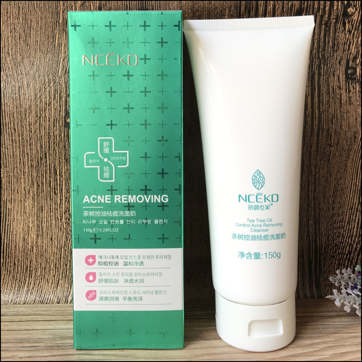 B6715 tea tree oil control face wash acne removing anti-acne cleansing milk shrink pores deep clean facial cleanser 150g