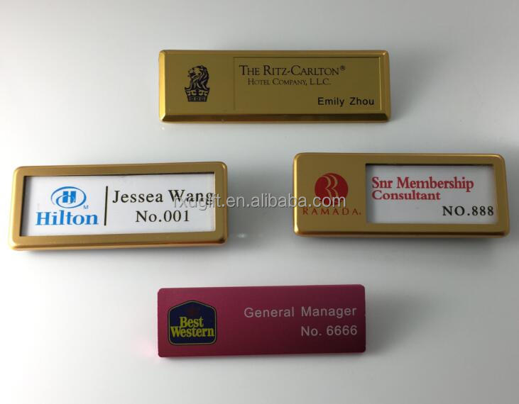 New hot high quality changeable name badges/magnetic name badge/company logo pin badges