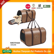 Paw Printed Side Open Luxury Leather Dog Carriers