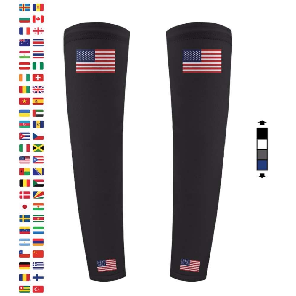 USA American Flag Custom Made Compression Performance Unisex Men Women Youth Pair Set Arm Sleeves