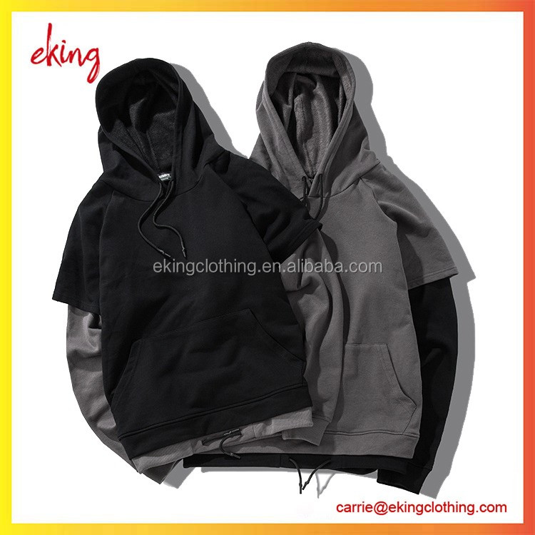 Two-color mosaic like two piece set man hoodies/ long sleeve 100%cotton fabirc hoodies/high quality alibaba China
