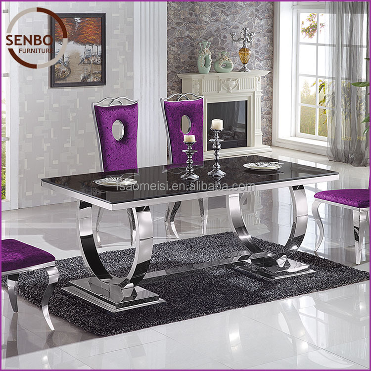 cream-colored glass dining table stainless steel dining table designs latest designs of dining tables SD009