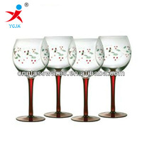 christmas decorative printing glass goblets with red stem