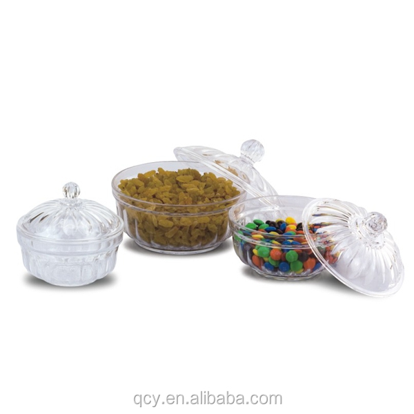 round clear acrylic candy case with cover