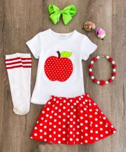 kids shirt summer children apple printed white top wholesale kids clothes