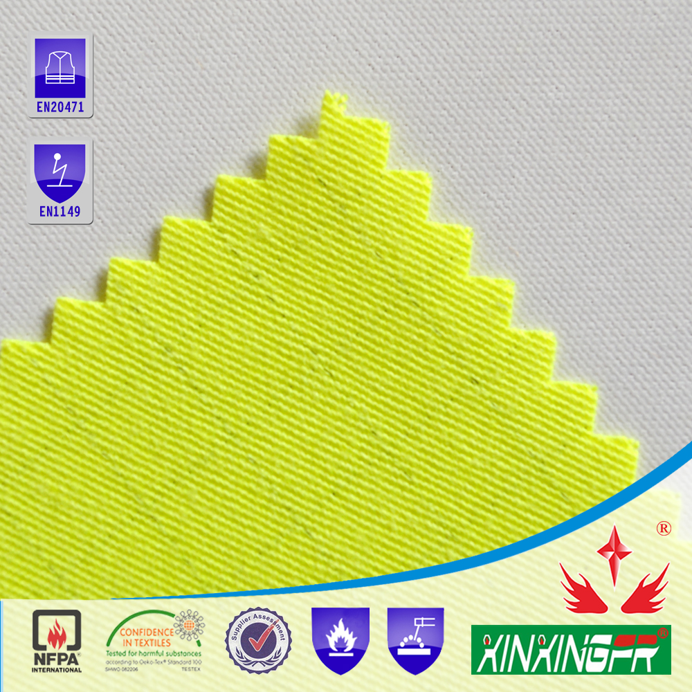 2016 CVC flame retardant high visible anti static fabric for workwear