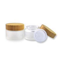 50ml 100ml child resistant wide mouth skincare eco friendly Cosmetic bamboo glass jar for Cream With Bamboo LID