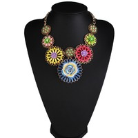 New Resin Flower Pearl Necklace multi colored Acrylic flower Luxury Vintage statement Necklace 3182