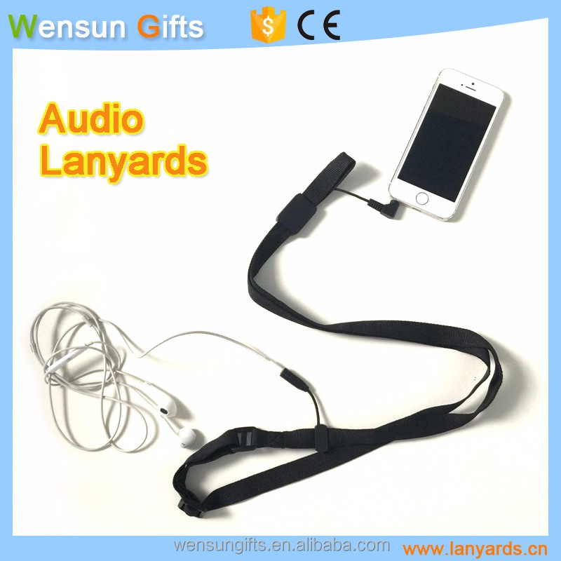 Audio neck lanyards with earphone wire custom OEM