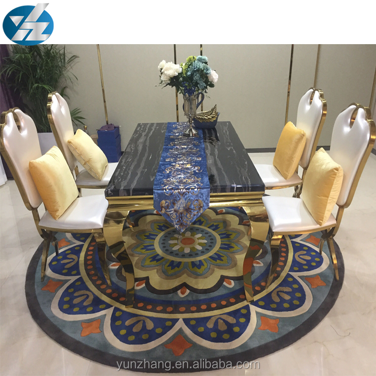 Black Long Square Marble Dining Table