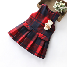 DL20349F 2018 new children clothing plaid cotton girl wool dress