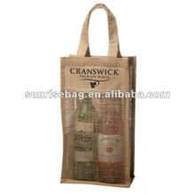promotional double bottle jute wine bags, recycled jute shopping tote bags with pvc window