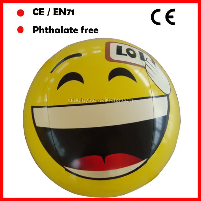 18inch yellow color emoji beach balls inflatable PVC balls with smile face