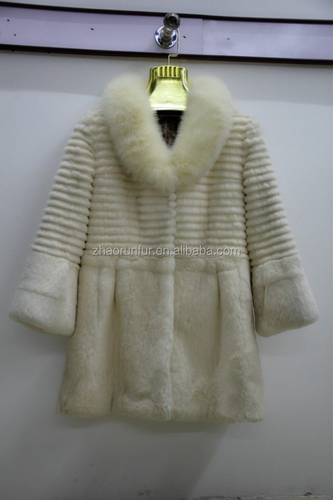 Wholesale factory price long rabbit fur coat jacket overcoat for women