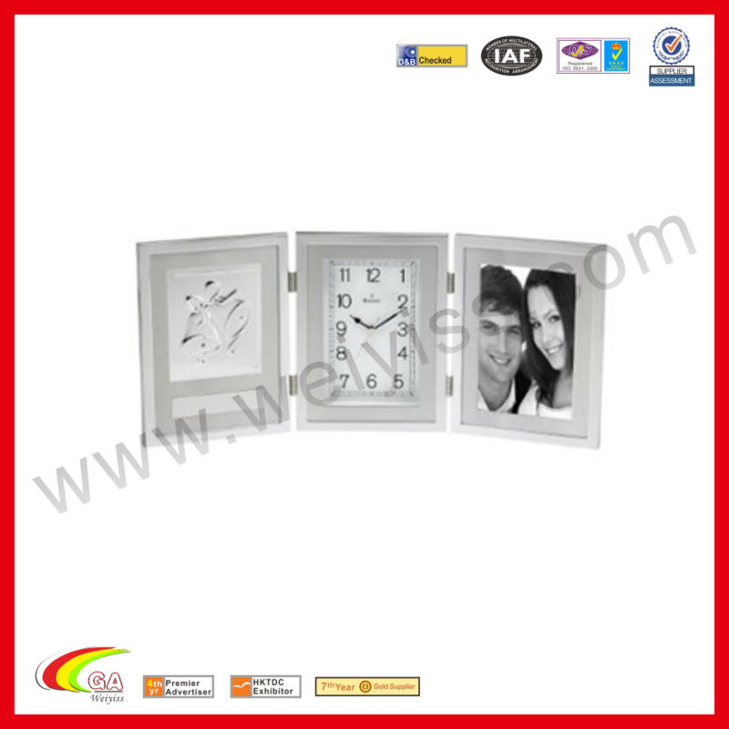 Grey Desk Clock With Photo Frame Fashion Collection Clock For Memory/Gift