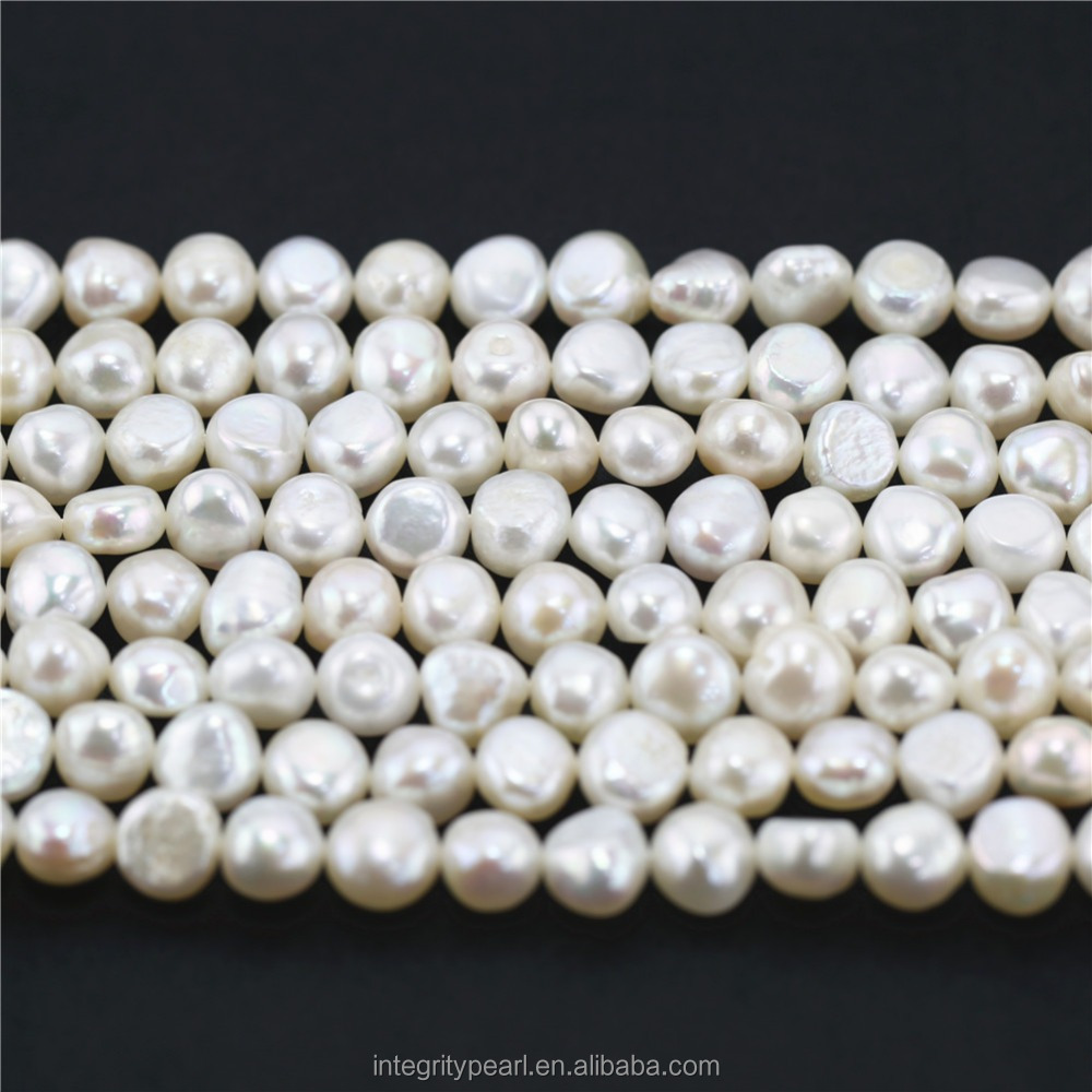 9-10mm freshwater real natural high quality flat pearl beads
