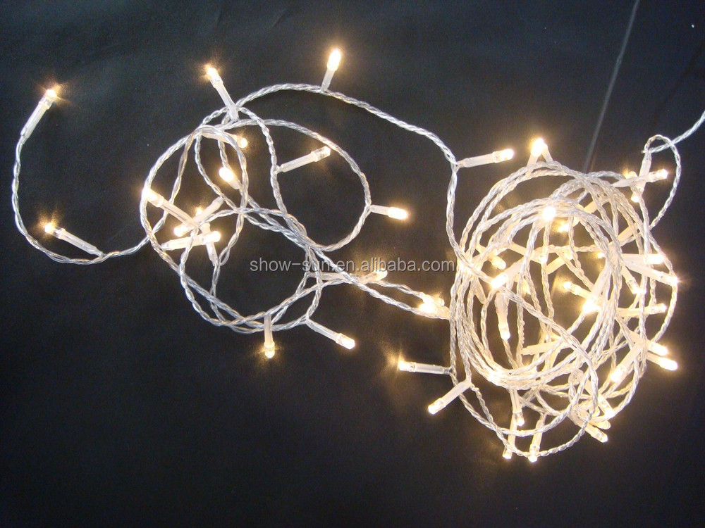 led christmas string light 8function lightchain 100LED 10m green wire warm white colour out door use