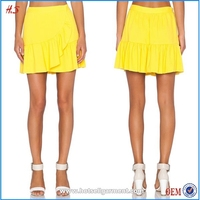 Wholesale Women Hot Sale Eye-catching Yellow Sports Mini Skirt