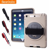 Factory Price hand strap pc tpu shockproof kickstand case for ipad mini 2 3