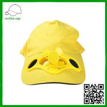 100% Cotton Solar powered Fan Cap With Energy Welcomed Colorful Baseball Solar Cap