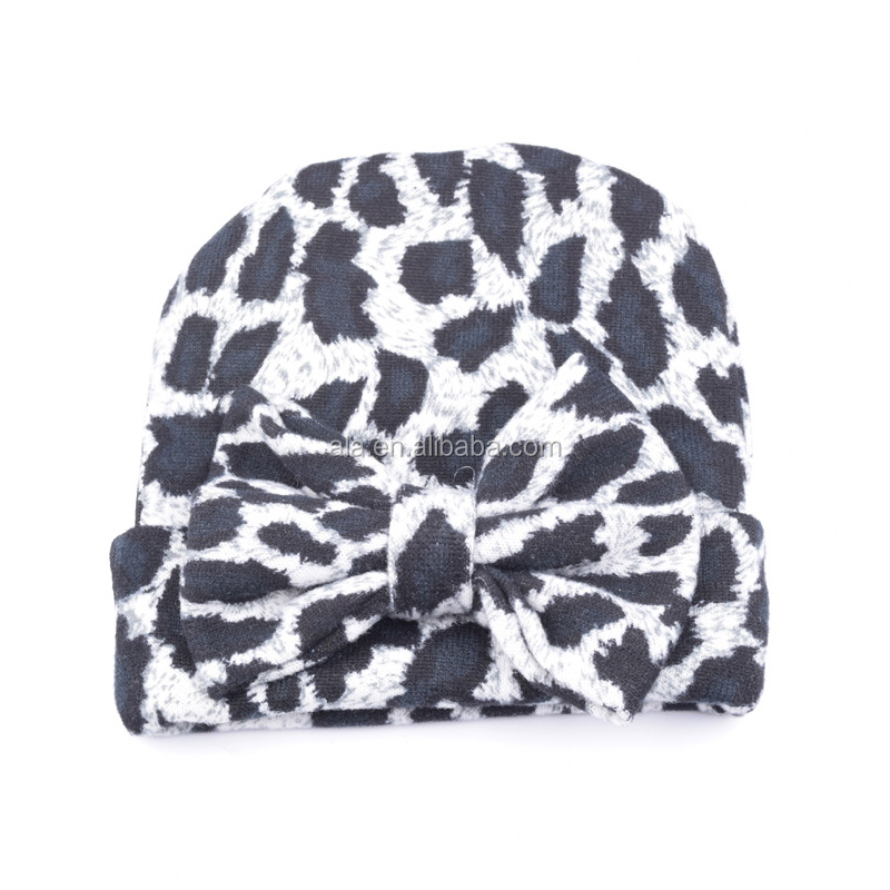 Soft print Winter Baby Hat Cotton Beanie Hats leopard Toddler bow Knit Beanie