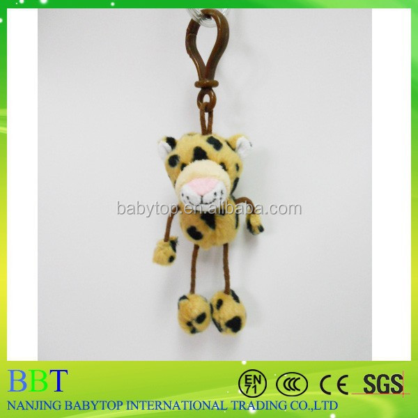 Plush africa leopard keychain toys, stuffed animal keychain, hanging toy for car