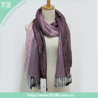 Viscose and acrylic lady tassel printed fashion winter scarf