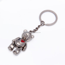 Decoration lovely bear printing metal 3d custom shaped keychain