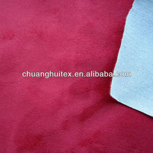 100% polyester red suede bonded with TC for hometextile