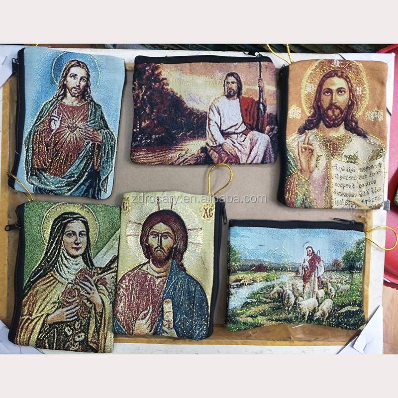 High Popular Relgious Bag Brocade Rosary Pouches Woven Purse Catholic Rosary Pouch Cases Icon Religious Rosary Pouch Bag Factory