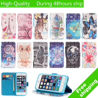 For iPod Touch5 Touch6 TOUCH 5 TOUCH 6 3D Painted Style Leather TPU Case with Card Slots Cute Cartoon Cover