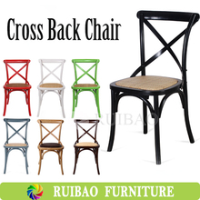 Popular Stackable Colorful Rental Wedding White Cross Back Wood Chair with Rattan Cushion